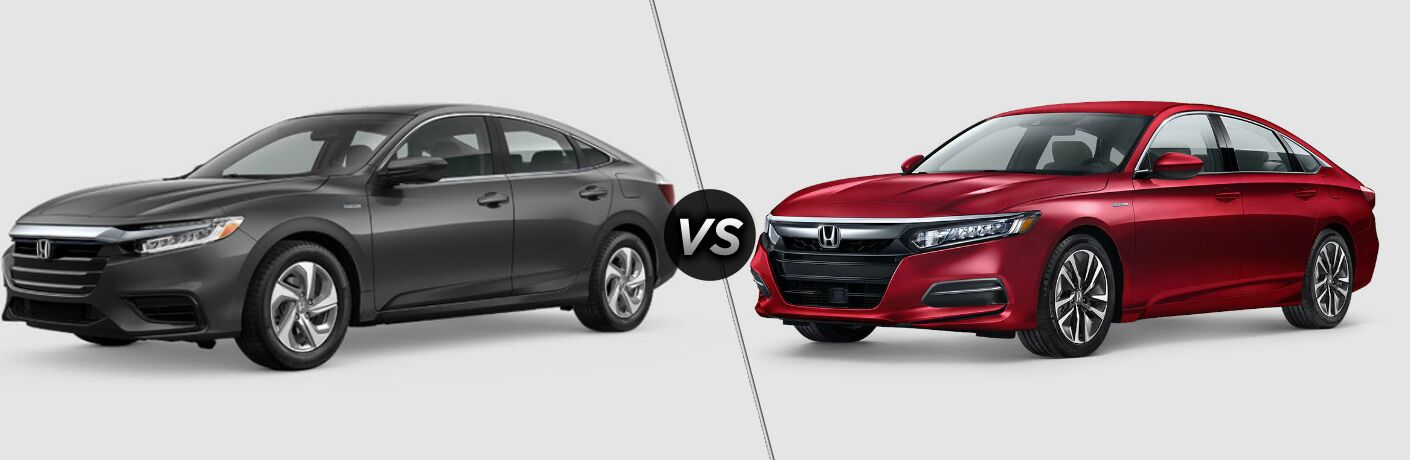 Gray 2019 Honda Insight and red 2019 Honda Accord Hybrid side by side