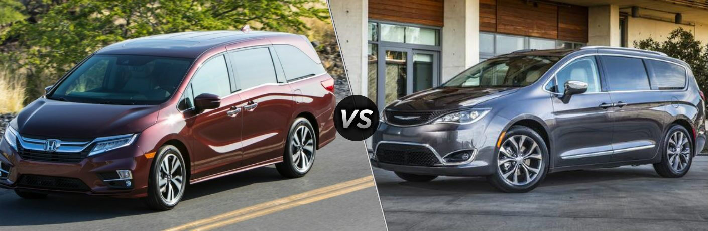 Red 2019 Honda Odyssey and gray 2019 Chrysler Pacifica side by side