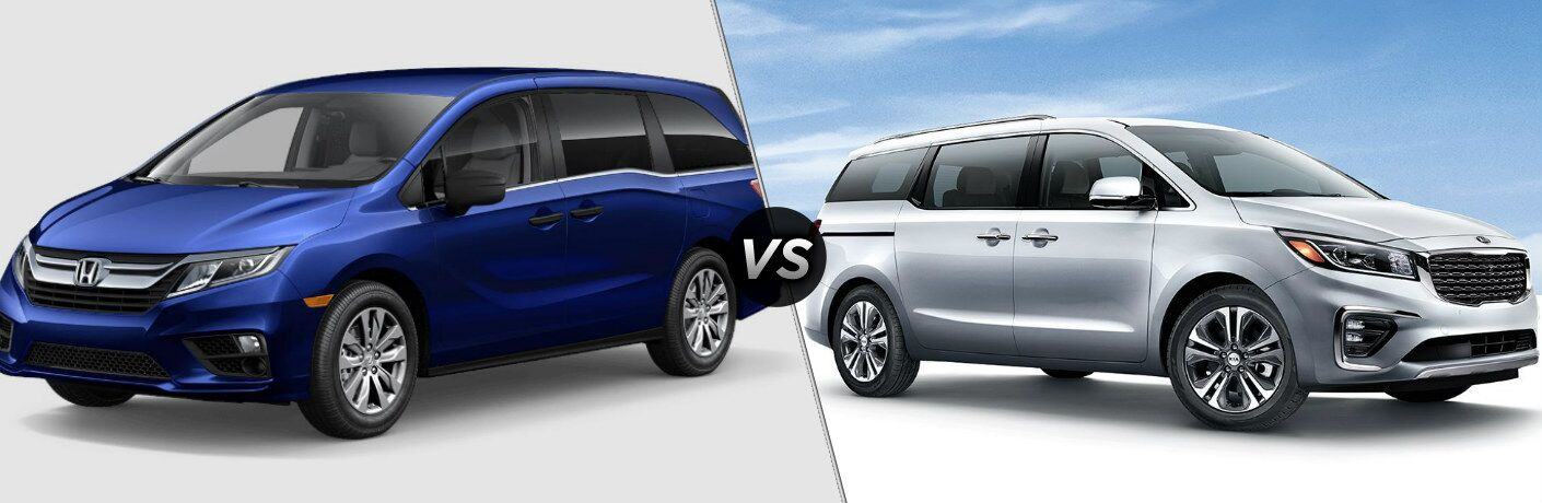 Blue 2019 Honda Odyssey and white 2019 Kia Sedona side by side