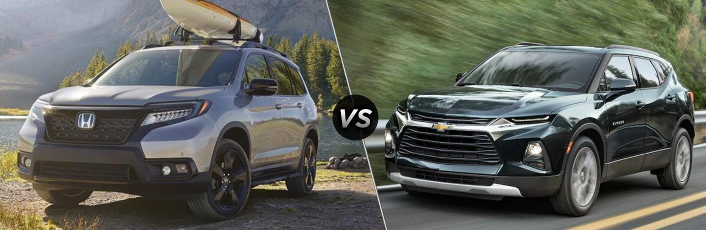 Silver 2019 Honda Passport and black 2019 Chevy Blazer side by side