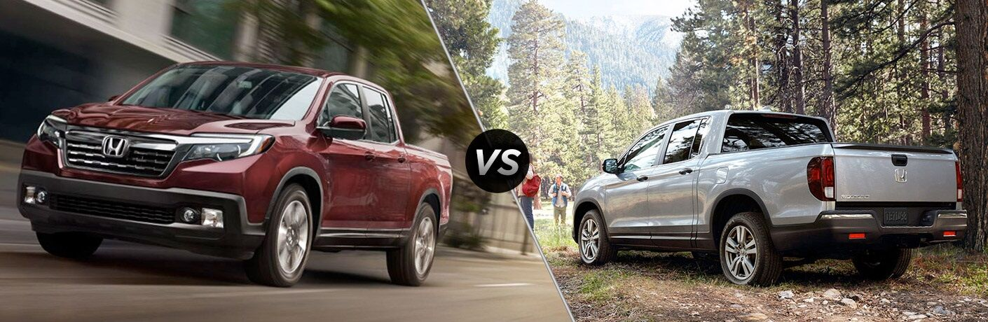 Red 2019 Honda Ridgeline and a white 2018 Honda Ridgeline side by side