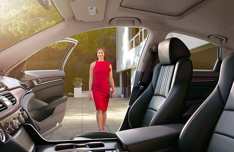 woman walking toward open 2020 Honda Accord