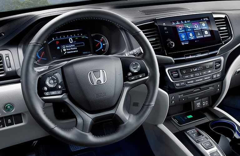 Steering wheel and dash of the 2020 Honda Pilot