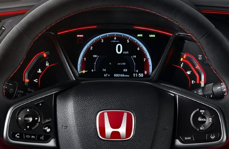 2020 Civic Type R steering wheel and gauges showcase