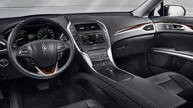 2016 lincoln mkz hybrid luxury sedan interior black leather woodgrain ford sync