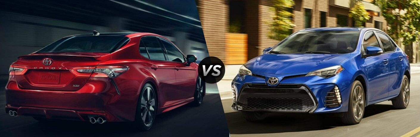 Red 2018 Toyota Camry and blue 2019 Toyota Corolla side by side