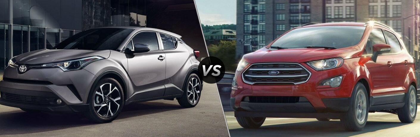 Grey 2018 Toyota C-HR and red 2018 Ford EcoSport side by side