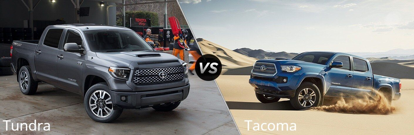 Grey 2018 Toyota Tundra and blue 2018 Toyota Tacoma side by side