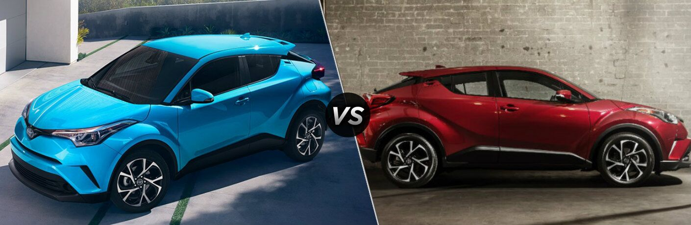 Blue 2019 Toyota C-HR and red 2018 Toyota C-HR side by side