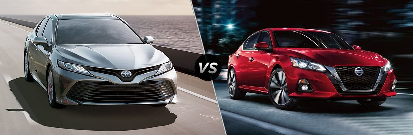 Silver 2019 Toyota Camry and red 2019 Nissan Altima side by side