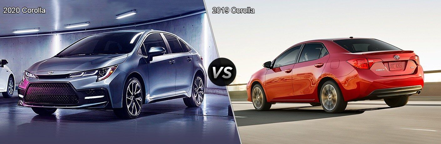 Silver 2020 Toyota Corolla and red 2019 Toyota Corolla side by side