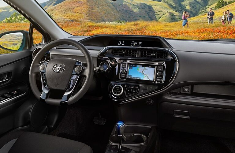 Steering wheel and dashboard in the 2019 Toyota Prius c