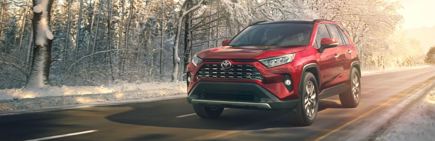 2019 Toyota RAV4 driving along snowy road