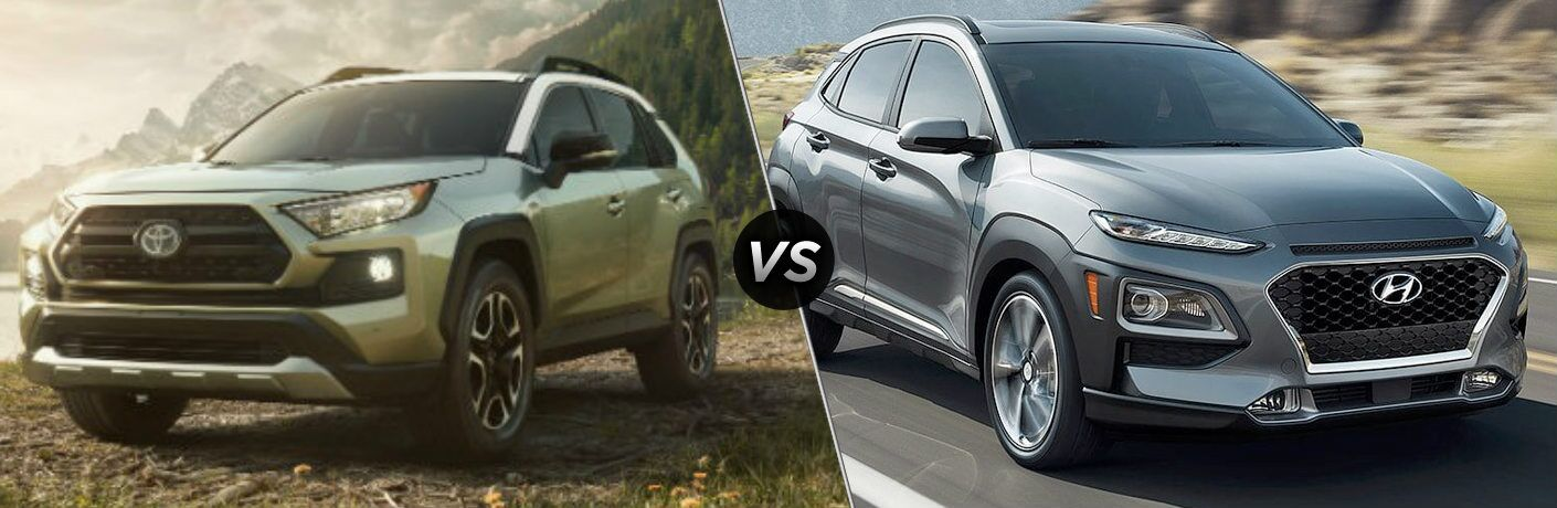 2019 Toyota RAV4 and 2019 Hyundai Kona side by side