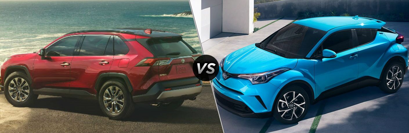 red 2019 Toyota RAV4 and blue 2019 Toyota C-HR side by side