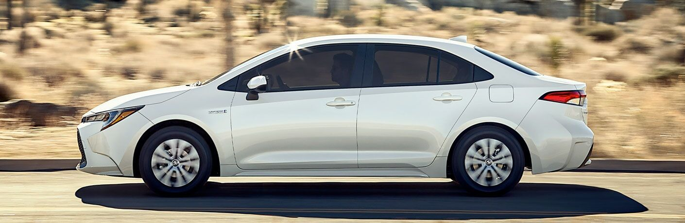 Side view of a white 2020 Toyota Corolla Hybrid