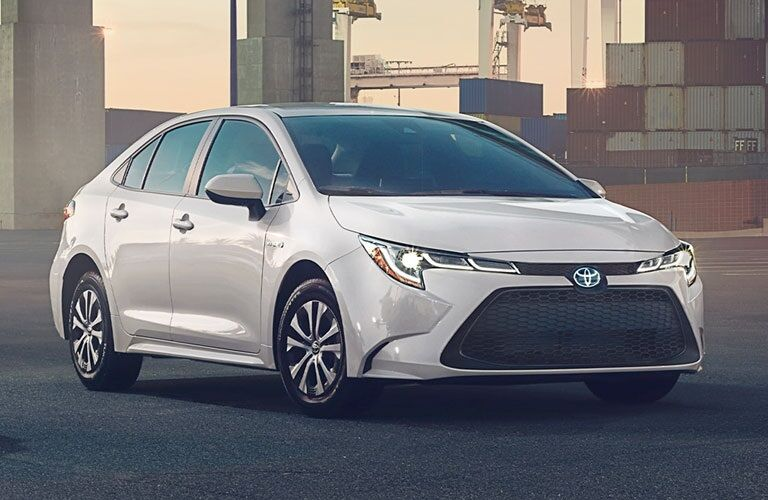 Front view of a white 2020 Toyota Corolla Hybrid