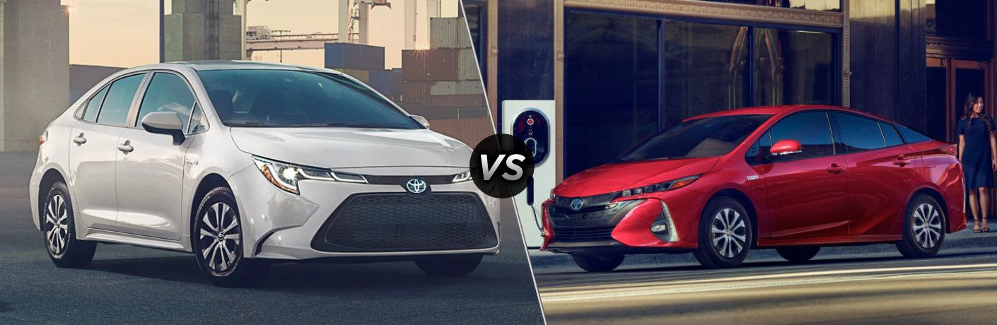 White 2020 Toyota Corolla Hybrid and red 2020 Toyota Prius Prime side by side