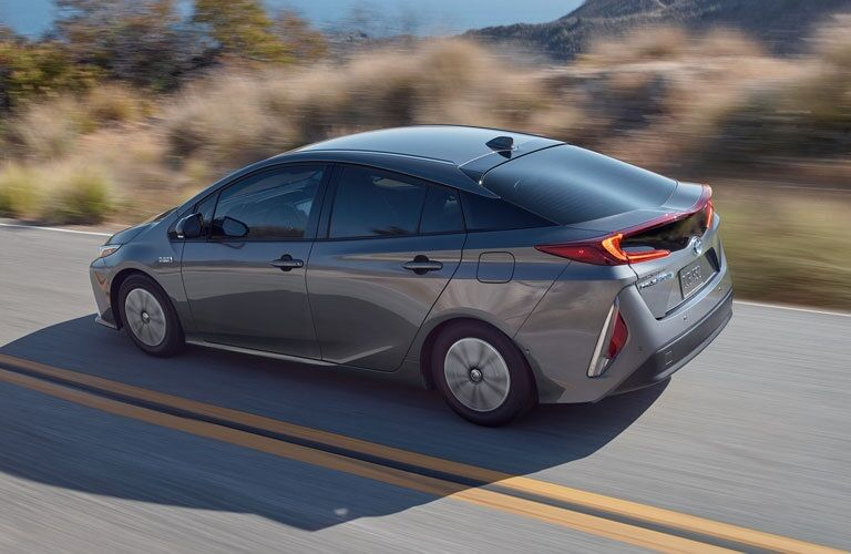 Overhead side view of a silver 2020 Toyota Prius Prime