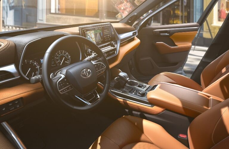 Front seat interior in the 2020 Toyota Highlander