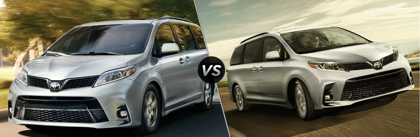 Silver 2020 Toyota Sienna and silver 2019 Toyota Sienna side by side