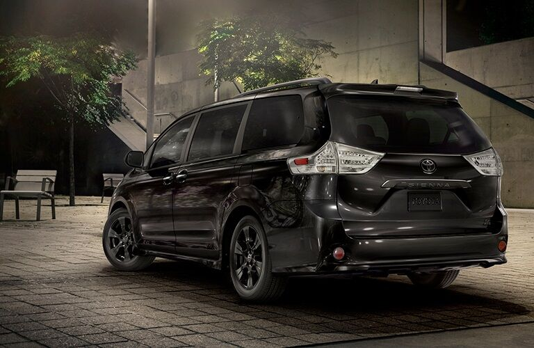 Rear view of the 2020 Toyota Sienna Nightshade Edition