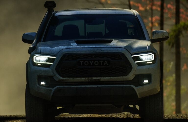 Front view of a 2020 Toyota Tacoma in the dark