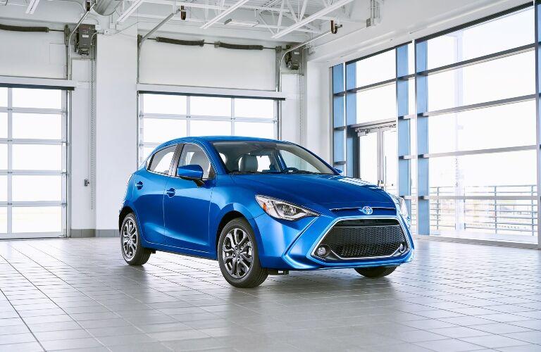 Blue 2020 Toyota Yaris Hatchback in garage