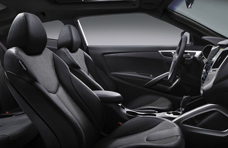 Interior front seats of the 2016 Hyundai Veloster