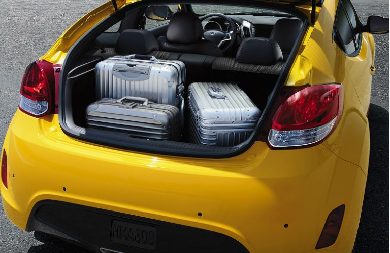 Luggage in the back of a 2016 Hyundai Veloster