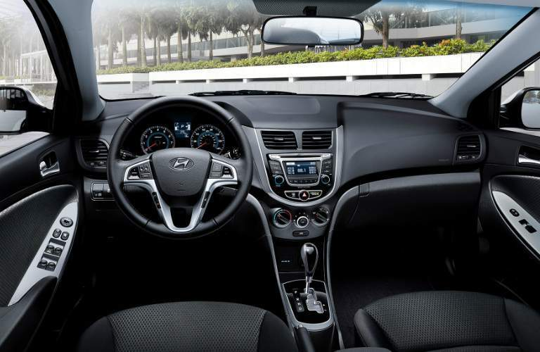 Steering wheel and dashboard of the 2017 Hyundai Accent Hatchback