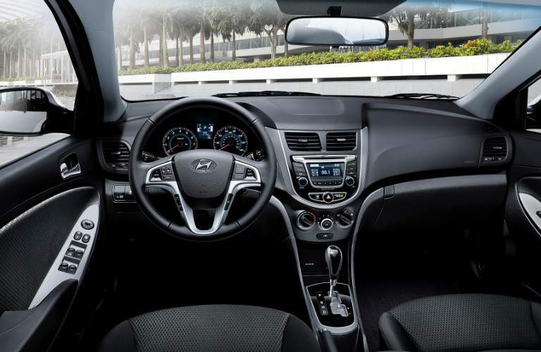 steering wheel and dashboard in the 2017 Hyundai Accent