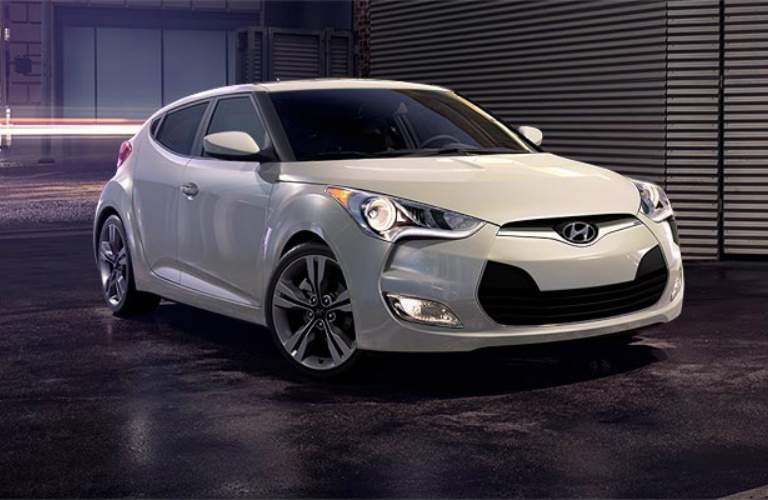 white 2017 Hyundai Veloster in a garage