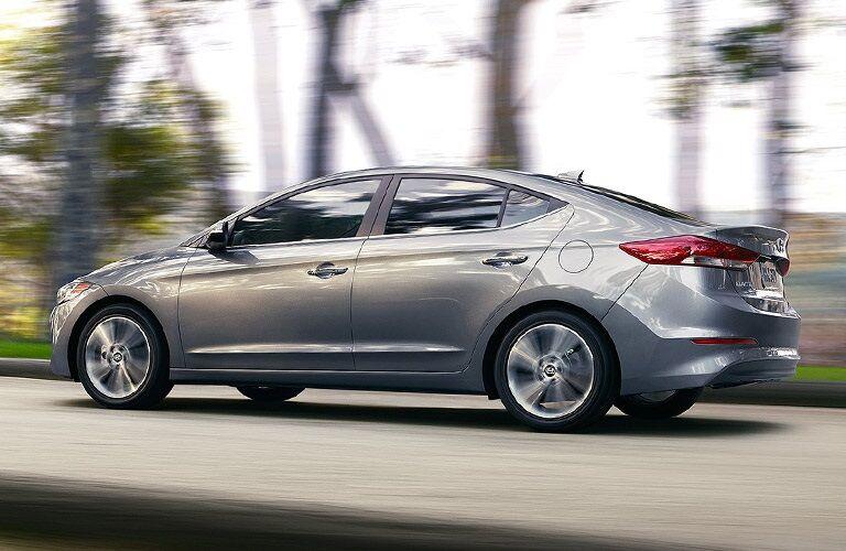 Silver 2017 Hyundai Elantra driving on road