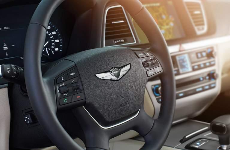 steering wheel of the 2018 Genesis G80