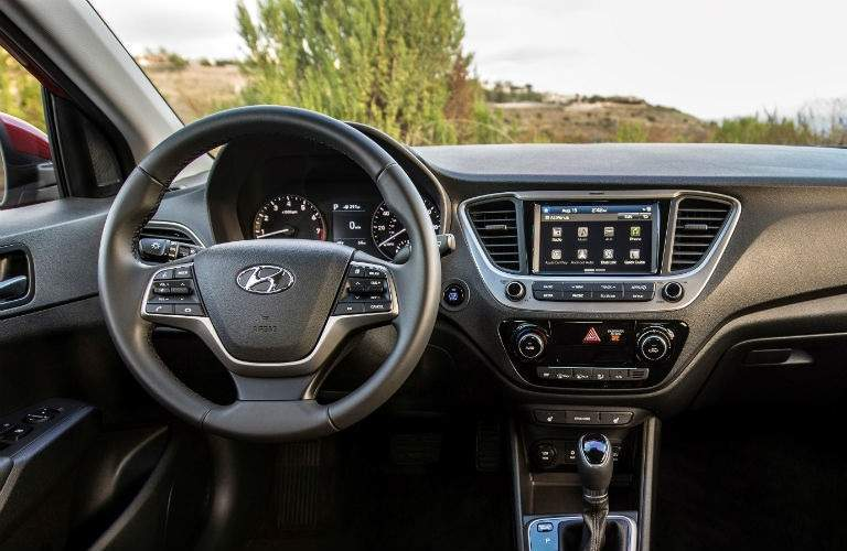 Steering wheel and infotainment system in 2018 Hyundai Accent