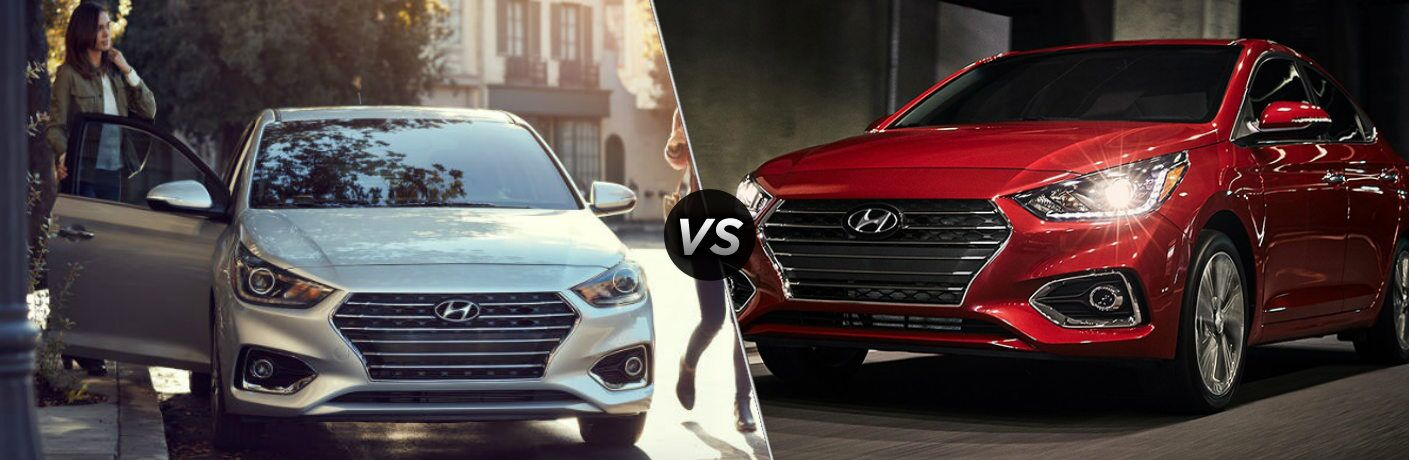 Silver 2018 Hyundai Accent and red 2019 Hyundai Accent side by side
