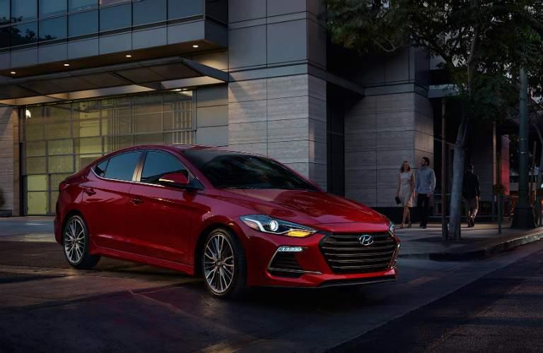 red 2018 Hyundai Elantra driving at night
