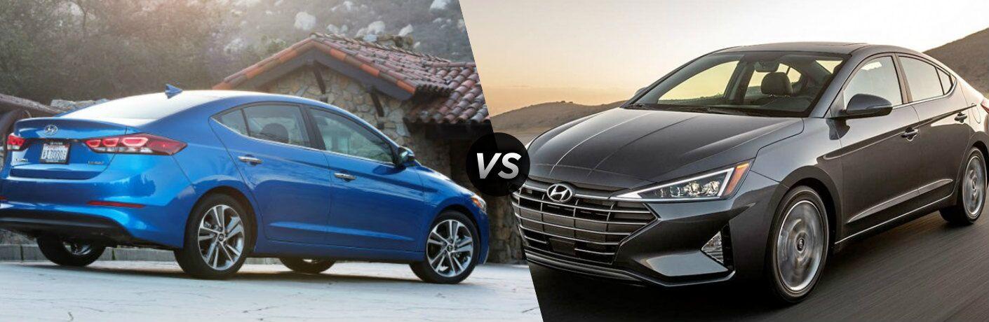 Blue 2018 Hyundai Elantra and gray 2019 Hyundai Elantra side by side