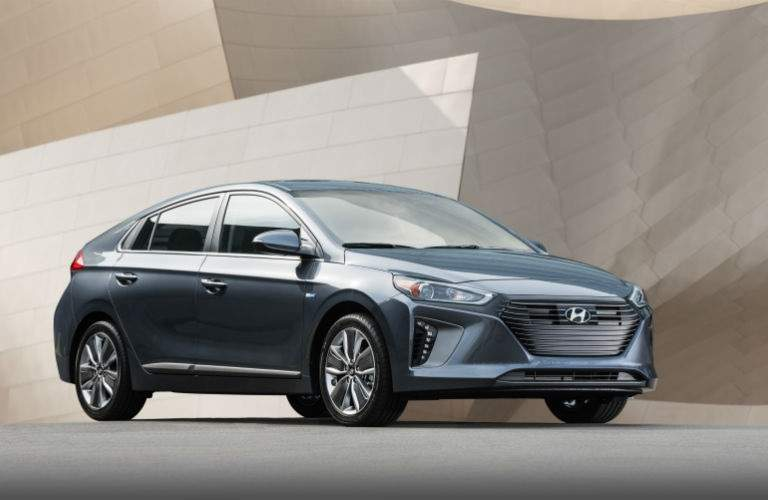 Side view of a blue 2018 Hyundai Ioniq