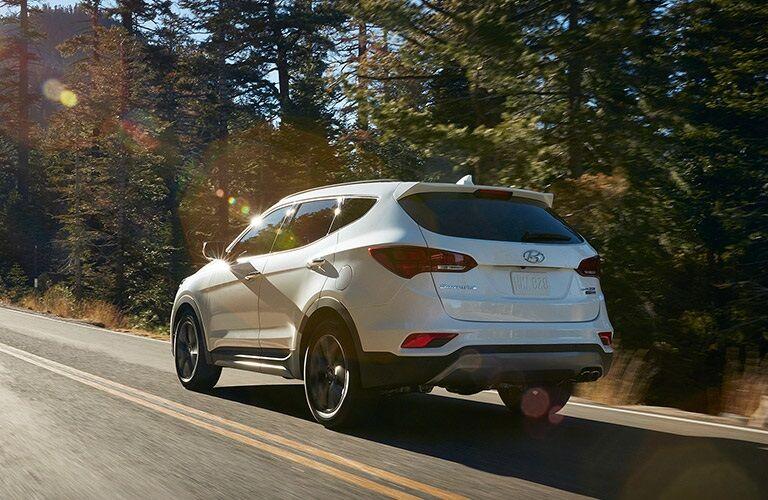 Rear view of a white 2018 Hyundai Santa Fe