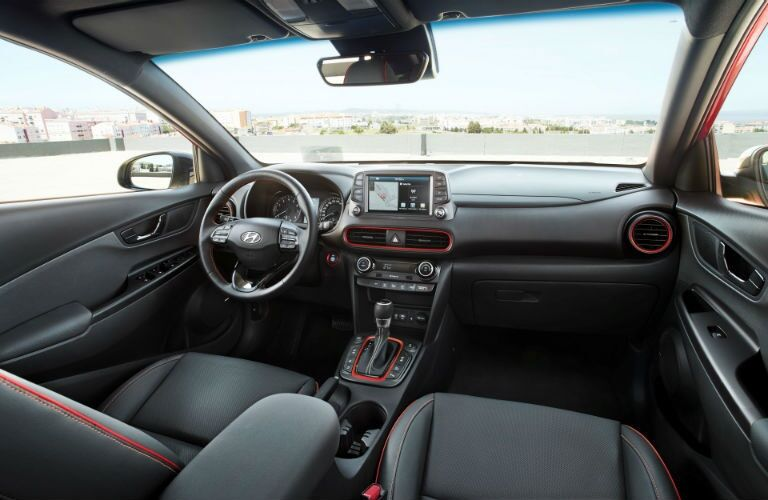 Interior front seat view of the 2018 Hyundai Kona
