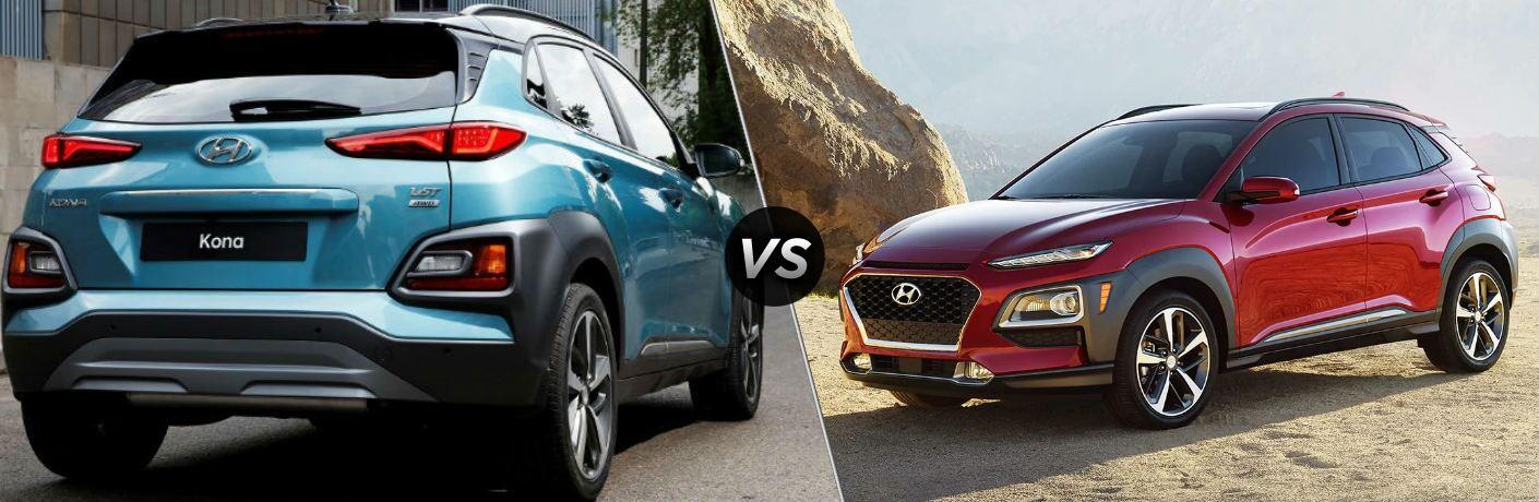 Blue 2018 Hyundai Kona and red 2019 Hyundai Kona side by side