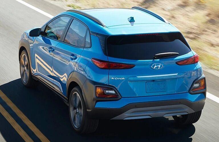 Rear view of a blue 2019 Hyundai Kona