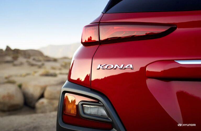 Rear Kona badge on the back of a 2019 Hyundai Kona