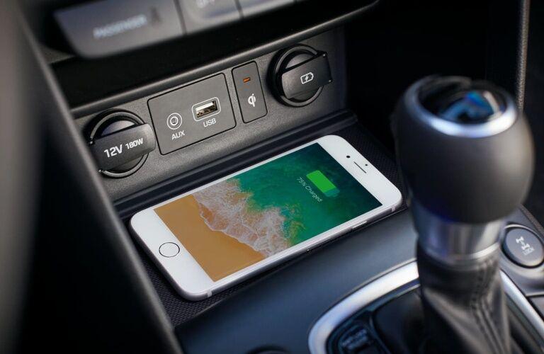 Wireless phone charging in the 2019 Hyundai Kona