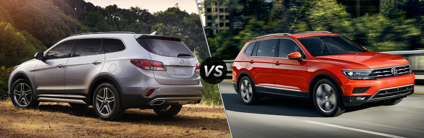 Silver 2018 Hyundai Santa Fe and 2018 Volkswagen Tiguan side by side