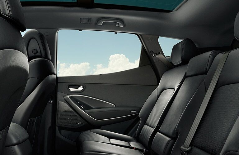 Rear seats and window of the 2018 Hyundai Santa Fe