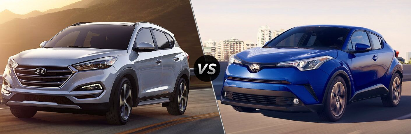 Silver 2018 Hyundai Tucson and blue 2018 Toyota C-HR side by side