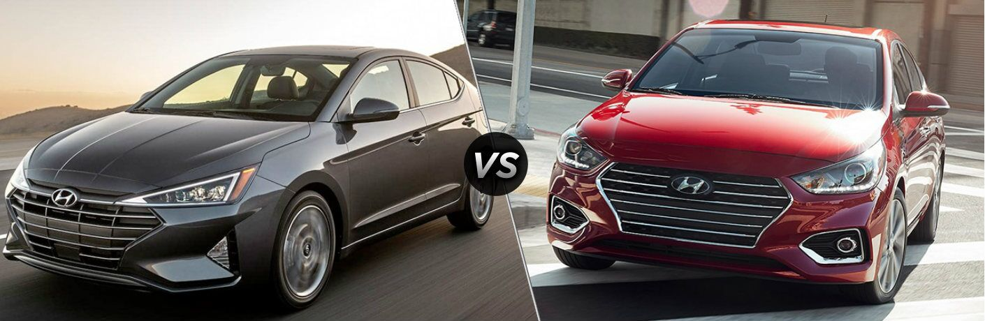 Gray 2019 Hyundai Elantra and red 2019 Hyundai Accent side by side